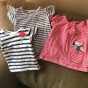 3 Carter's baby girl's shirts